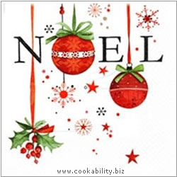 Cookability Xmas Napkins: Noel and Holly. Original product image, © Cookability