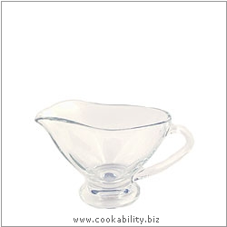 Cookability Small Glass Gravy Boat. Original product image, © Cookability