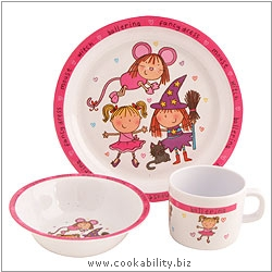 Rayware Melamine Set Fancy Dress Pink. Derived work from original images, © Rayware Ltd, used with permission.