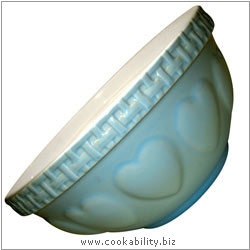 Cookability Blue Heart Mixing Bowl. Derived work from original images, © Rayware Ltd, used with permission.