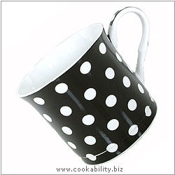Fine Bone China Black Polka Dot Mug. Original product image, © Cookability