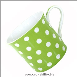 Fine Bone China Green Polka Dot Mug. Original product image, © Cookability