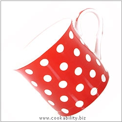 Fine Bone China Red Polka Dot Mug. Original product image, © Cookability