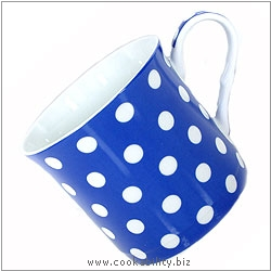 Fine Bone China Blue Polka Dot Mug. Original product image, © Cookability