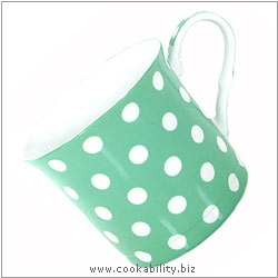 Fine Bone China Pastel Green Polka Dot Mug. Original product image, © Cookability