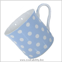 Fine Bone China Pastel Blue Polka Dot Mug. Original product image, © Cookability
