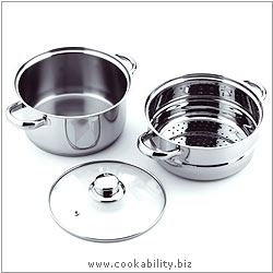 Cookability Steamer. Derived work from original images, © Grunwerg Ltd, used with permission.