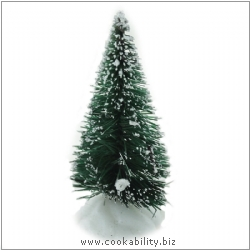 Xmas Cake Decorations Frosted Fir Tree. Original product image, © Cookability