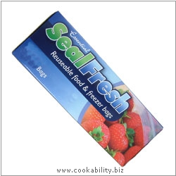 Cookability SealFresh Food and Freezer Bags. Original product image, © Cookability