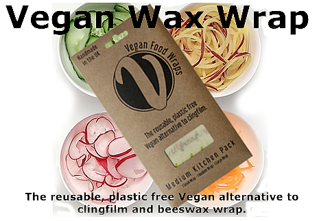 Vegan wax wraps made with plant based wax, organic jojoba oil, natural pine resin and organic GOTS certified cotton