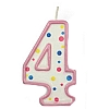 Culpitt Pink Birthday Numeral Candle - Four